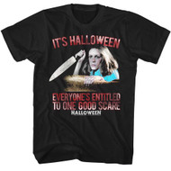 Halloween Scary Horror Slasher Movie Entitled To A Good Scare Adult T-Shirt Tee