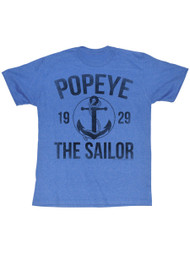 Popeye Anchor Retro Royal Heather Adult T-Shirt Tee