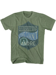 Andre The Giant Biggest Of Them All Military Green Heather Adult T-Shirt Tee