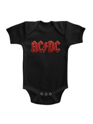 ACDC Distress Red Black Infant Baby Creeper Snapsuit Romper