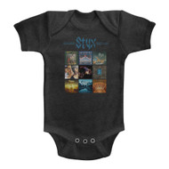 Styx Album Grid Vintage Smoke Infant Baby Romper Creeper Snapsuit