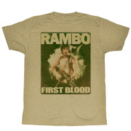 Rambo 1980s Action Thriller War Movie First Blood Poster Adult T-Shirt Tee