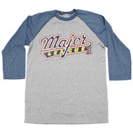 Major League Sports Comedy Baseball Movie Logo Adult 3/4 Sleeve Raglan T-Shirt