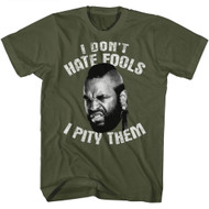 Mr. T 1980's Wrestler Boxer Don't Hate Pity Military Green Adult T-Shirt Tee