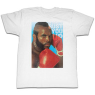 MR. T Boxing Stance Red Gloves I'm Going To Bust You Up White Adult Mens T-Shirt