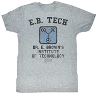 Back To The Future 1985 E.B. Tech Institute Of Technology Grey Adult Mens Tee