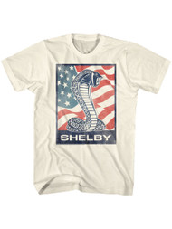 Shelby Cobra snake and USA flag American Sports race Car Adult T-shirt Graphic Tee