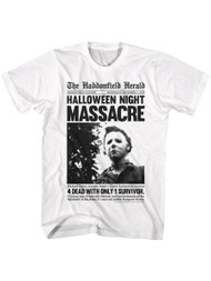 Halloween 70s Horror Movie Michael Myers Newpaper Article Graphic Adult Short Sleeve T-Shirt Graphic Tee