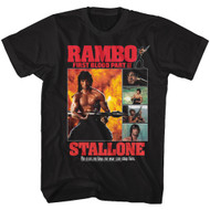 Rambo 80s Movie First Blood Part II Collage Image Adult Short Sleeve T-Shirt Graphic Tee