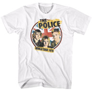 The Police British Rock Band World Tour 1979 Front & Back Images Adult Short Sleeve T-Shirt Graphic Tee