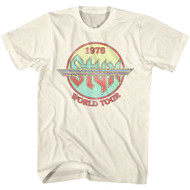 Styx Circle 1978 World Concert Tour Music American Rock Band Adult T-shirt 70s Graphic Tee