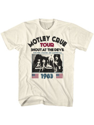 Motley Crue 80s Hair Band 1983 Shout At The Devil Tour Adult Short Sleeve T-Shirt Graphic Tee