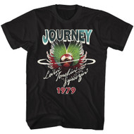 Journey 80s Rock Band 1979 Lovin' Touchin' Squeezin' Adult Short Sleeve T-Shirt Graphic Tee