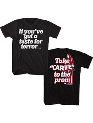 Carrie Horror Film Take Carrie to Prom Front & Back Print Adult Short Sleeve Tee