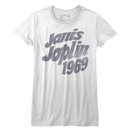 Janis Joplin American Rock Artist 1969 Faded Look Juniors Short Sleeve T-Shirt Graphic Tee