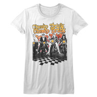 Cheap Trick American Rock Band Biketrick Band on Bikes Juniors Short Sleeve T-Shirt Graphic Tee