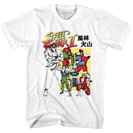 Street Fighter II Gaming Chracter Sketches Japanese Adult Short Sleeve T-Shirt Graphic Tee