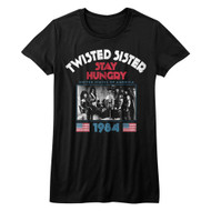 Twisted Sister Heavy Metal Band Stay Hungry US Tour 1984 Ladies Bella Short Sleeve T-Shirt Graphic Tee