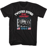 Twisted Sister Heavy Metal Band Stay Hungry US Tour 1984 Adult Short Sleeve T-Shirt Graphic Tee