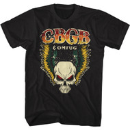CBGB & OMFUG NYC Music Club Skeleton Logo Adult Short Sleeve T-Shirt Graphic Tee