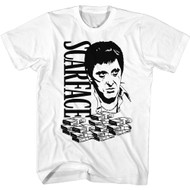 Scareface 80s Movie Tony Montana Stacks of Money Adult Short Sleeve T-Shirt Graphic Tee
