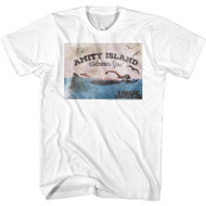 Jaws Horror Movie Amity Island Welcomes You Poster Graphic Adult Short Sleeve T-Shirt