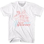 Ace Attorney Gaming Faded Red and Blue Outline Sketch Japanese Adult Short Sleeve T-Shirt Graphic Tee