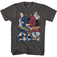 Ace Attorney Gaming Phoenix Wright and Miles Edgeworth Choose Your Fighter Adult Short Sleeve T-Shirt Graphic Tee