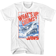 Jaws Thriller Movie What's Up Chums Shark ImageVintage Distressed Look Adult Short Sleeve T-Shirt Graphic Tee