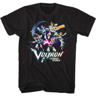 Voltron Animated TV Defender Group In Space Adult Short Sleeve T-Shirt Graphic Tee