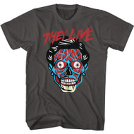 They Live 80s Movie Alien Head Adult Short Sleeve T-Shirt Graphic Tee