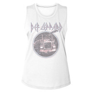 Def Leppard Rock Band On Through The Night Distressed Look Ladies Muscle Tank Top