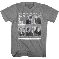 The Breakfast Club 80s Movie Class of 1985 Yearbook Adult Short Sleeve T-Shirt Graphic Tee