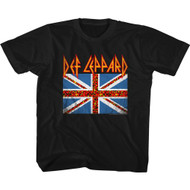Def Leppard Rock Band Leopard Union Jack Flag Youth Short Sleeve T-Shirt Graphic Tee