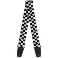 Black and White Distressed Checkers Checkered Pattern Guitar Strap