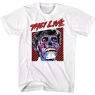 They Live 80s Sci-Fi Movie Skull Faced Alien Adult Short Sleeve T-Shirt Graphic Tee