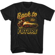 Back To The Future 80s Movie Gold Print Adult Short Sleeve T-Shirt Graphic Tee