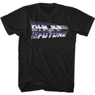 Back To The Future 80s Movie Chrome Logo Adult Short Sleeve T-Shirt Graphic Tee