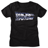 Back To The Future 80s Movie Chrome Logo Ladies Short Sleeve T-Shirt Graphic Tee