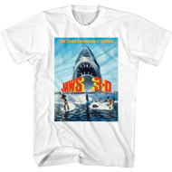 Jaws Horror Movie 3-D The Third Dimension Is Terror Poster Image Adult Short Sleeve T-Shirt Graphic Tee