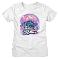 Back To The Future 80s Movie 1955 to 1985 Airbrush Look Ladies Short Sleeve T-Shirt Graphic Tee