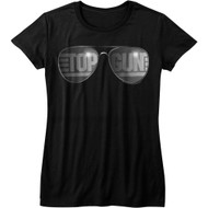 Top Gun 1980s Military Fighter Jet Action Movie Top Shades Womens T-Shirt Tee