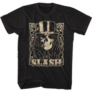 Slash Musician Cream Smiling Slash Skull Image Adult Short Sleeve T-Shirt Graphic Tee