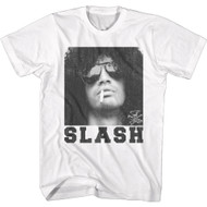 Slash Musician Black & White Slash Smoking Image Adult Short Sleeve T-Shirt Tee