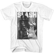 Slash Musician Black & White Playing Guitar Image Adult Short Sleeve T-Shirt Graphic Tee