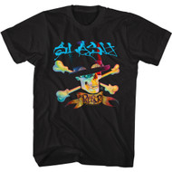 Slash Musician Skull & Bones & Hat Image Adult Short Sleeve T-Shirt Graphic Tee