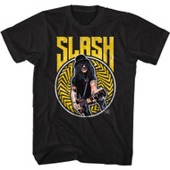 Slash Musician Smiling Slash Playing Guitar Image Adult Short Sleeve T-Shirt Graphic Tee