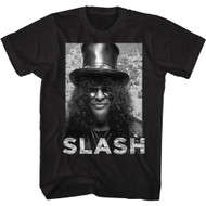 Slash Musician Black & White Slash Image Adult Short Sleeve T-Shirt Graphic Tee