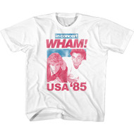 WHAM 80s Music In Concert USA '85 Tour Shirt Youth Short Sleeve T-Shirt Tee