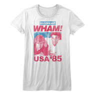 WHAM 80s Music In Concert USA '85 Tour Shirt Ladies Short Sleeve T-Shirt Tee